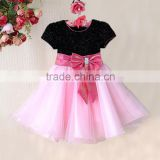 Fashionable Baby Girl Dress Black Pink Children Princess Dress For Summer Kids Clothes 6pcs/LOT Wholesale GD11116-01BP