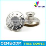Fashion bulk metal rotating 15mm washable jeans button custom logo