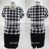 2015 Autumn mother's casual loose checks blouse can match for skirts