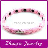 No problem health care jewelry germanium stainless steel bio pink color ceramic power health charm bracelet