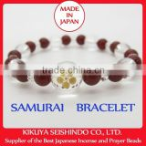 Maeda Keiji, samurai bracelet, women bracelet, quartz 12 mm (cristal) with red agate, gift ideas women, Japanese bracelet