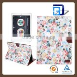 Super Slim Tablet case Printed Flower PU leather Flip Tablet For iPad pro bluetooth keyboard case