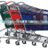 european style steel wire shopping cart with baby seat