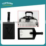 Toprank Wholesale Custom Exquisite Embossed Black Leather Pu Luggage Tag Strip Airplane Hang Travel Tag