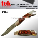 usa stainless steel folding pocket knife with wood handle