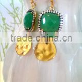 Natural Chrysoprase Chalcedony Earrings with Black Pave Bezel and Textured Gold Plated Disc, Chalcedony Dangle Earrings