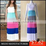 Brand Design Fast Selling Wholesale Splicing Maxi Dress Cotton Long Women Dresses Sleeveless Beach Clothing
