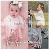 KS10636A Fashionable baby girls sun protection clothing designer lace cardigan with pom poms