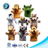 Cute various plush animal heard glove puppet popular soft stuffed funny dinosaur hand puppet