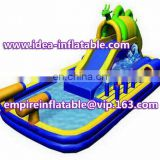 Cannon slide inflatable water slide with pool for fun ID-SLL024