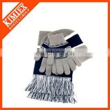 Sports knitted hat mittens scarf set