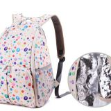full printed polyester diaper backpack with handle