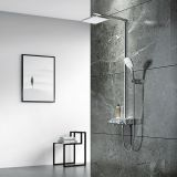 AT-H005 thermostat controlled shower valves #304 SS Ating shower sets rectangle top Shower with washing faucet