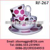 4pcs Round Shape Porcelain Custom Made Dinnerware Set for Children for Tableware