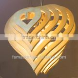 2013new design heart shape wooden pendant light for resutaurant European style modern new design heart shape ceiling light