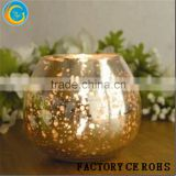 Online Mercury Sliver Candle Holder /Amber Home Products Glass Shaped Votive/Gold Etched Frosted Glass