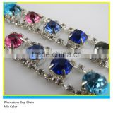 Glass Stone Cup Chain Sew on Technics Mix Color Rhinestone Chain