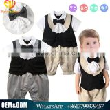 2016 handsome baby bodysuit short sleeve baby boys summer romper set with lace bow tie