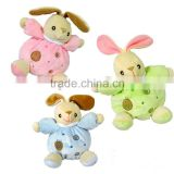 Baby Plush Soothing Toy Bunny in Soft Color/Soft Toy Colorful Bunny with Bell Inside/Stuffed Animal Baby Toy