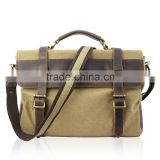 Minandio Hot Sale Retro leisure canvas and leather laptop bag and leather man bags/briefcase with best price