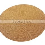 Handmade Braided Waterproof Round Metallic PP Table Mat