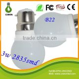 Factory direct sales high quality e26 e27 b22 3w 360 degree ra80 led bulb light 3w b22 led smd globe bulbs
