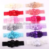 Hot-sales Shabby Lace Baby Headband Chic Flower Girls Headband Hair Bow Flower Headband for Baby Girl Hair Accessory wh-1839