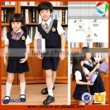 latest design boys and girls set Japen Korea style vest sweater school uniforms kids clothing set causal V neck uniform