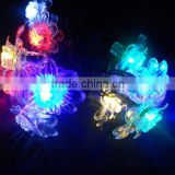 10 Peony Leds +4.5M cable Colorful solar strip light using for tree,garden decoration