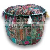 Indian Traditional Home Decorative Multi Patch Ottoman Handmade Patchwork Foot Stool Floor Pouf Cover