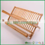 FUBOO Kitchen Bamboo Foldable Compact Dish Drying Rack and Utensil Drainer