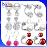 Wholesale Colorful 925 Sterling Silver Double Sided Pearl Earring/Fancy Fashion Jewelry Shambala Round Crystal Ball Stud Earring