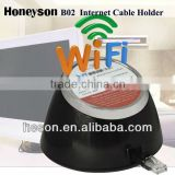 Retractable wire + WiFi hotel room service network cable holder