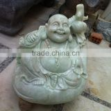 Laughing Buddha Statue Green Natural Marble Stone Hand Sculpture Carving For Home, Resort And Hotel