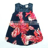 ( H3682 ) Navy 2-6Y Nova kids fashion wear 2015 good feeling summer sleeveless floral satin girls dress