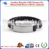 Genuine Stingray Leather Bracelet USB Charging Cord for iPhone5/6 and Android Smartphones