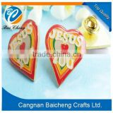 Popular international club Shinny Metal Pin Badge with Glitter / Heart Shaped Metal Badge Souvenir Metal Badges