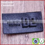 Private personalized black embossed pu leather jeans beanie label patch