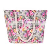 New Women Canvas Floral Printing Casual Female Tote Shopping Bag Beach Bags