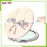 New Design PU Leather Round Epoxy Makeup Mirror, Round 2 ways leather Metal Pocket Cosmetic Mirror                                                                         Quality Choice