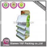 Retail store potato chip display rack with 4 shelves, floor paper display rack for potato chip bags