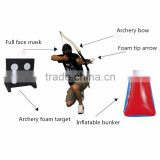 Archery play combet tag cylinder white foam tip arrow head and arcehry bow