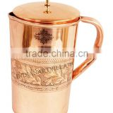 IndianArtVilla Handmade Designer Pure Copper Jug Pitcher With Lig 1300 ML - Storage Drinking Water Home Hotel Restaurant