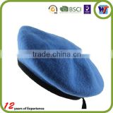 PU Leather Wrap Wool Felt Blue Army Beret Military Top Man Hat