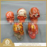 rainbow jasper human anatomy skull carving/skeleton all by handmade for home decoration
