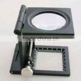 9005C plastic magnifer with zinc alloy black frame ,8x optical glass, with calibration and finger