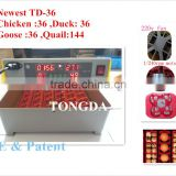 New! Tongda automatic digital mini egg incubator chicken/duck/ goose /quail mini incubator