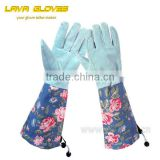 GPB089 Pigskin leather long Sleeve Lady Garden Rose Gloves