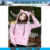 hot sale fashion hoodie plain with ears for women and girls PINK