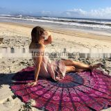 100% Cotton Round Beach Towel 150*150cm/59*59'' Bath Towel Tassel Decor Geometric Printed Bath Towel Summer Style 1pcs/lot